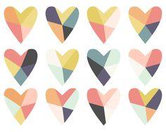 Geometric Clip Art // Fractured Heart Digital Clip Art // Instant Download Digital Heart Clip Art from Everdawn on Etsy Studio