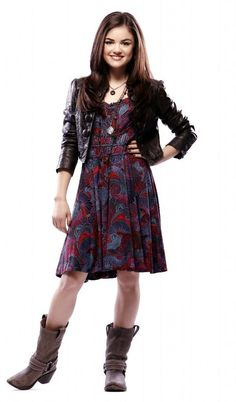 Aria's printed purple sundress with cross-cross straps and zipper, black leather jacket, layered necklaces, and boots [Pretty Little Liars S01E01 Pilot] PROMO IMAGE