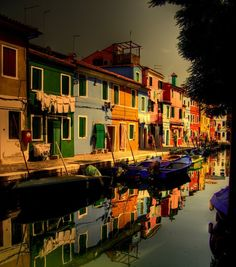 Small colourful island village, Venice.