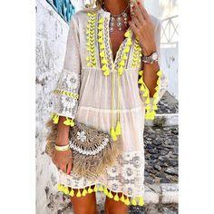 SKU Brand Name Picolamo Material Blend embellishment decorative lace Occasion Daily Style Bohemian bust_cm length_cm inch cm inch cm s 35 88 35 90 m 36 92 36 91 l 38 96 36 92 xl 39 100 37 93 41 104 37 94 Fringe Dress, Boho Dress, Lace Dress, Skirt Fashion, Boho Fashion, Fashion Trends, A Line Skirt Pattern, Stitching Dresses, Half Sleeve Shirts
