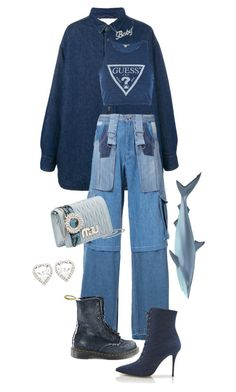 A fashion look from August 2017 featuring navy blue crop top, patchwork jeans and Christopher Kane. Browse and shop related looks. Kpop Fashion Outfits, Stage Outfits, Mode Outfits, Outfits For Teens, Fall Outfits, Cute Casual Outfits, Stylish Outfits, Mode Ulzzang, Polyvore Outfits