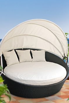 "Outdoor canopy bed.... fancy outdoor furniture is certainly relegated to the ""dreams"" list at this point! :)"
