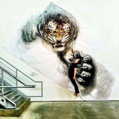 Murais 3D de animais em larga escala de Fiona Tang
