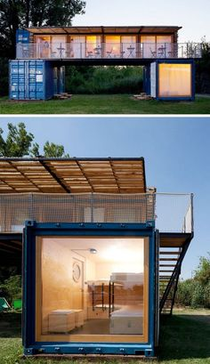 Artikul Architects have designed this boutique shipping container hotel named ContainHotel, in Treboutice, Czech Republic. Shipping Container Buildings, Shipping Container Home Designs, Container House Design, Tiny House Design, Shipping Containers, Shipping Container Cabin, Shipping Container Interior, Hotel Mallorca, Small Boutique Hotels