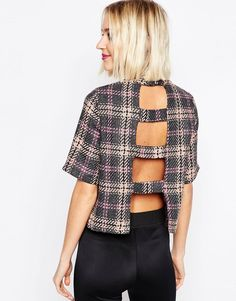 High Neck Top With Open Back In Check
