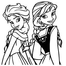 Elsa Anna Princesses Pic to Color