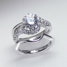 The Castle Jewelry 12 Ct White Gold Engagement Wedding Set Swirl