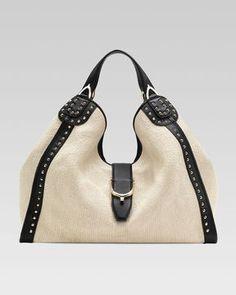 ShopStyle: Gucci Soft Stirrup Straw Shoulder Bag, White
