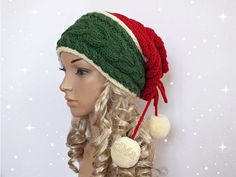 Santa Hat Adult Cable Knit Oversized Beret Baggy Neck Warmer