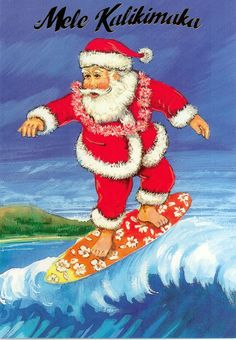 surfing santa mele kalikimaka merry christmas tropical christmas beach christmas coastal christmas - Merry Christmas In Hawaii