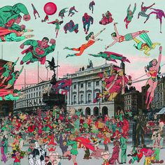 I love this Peter Blake creation because of the mix of BW and colour and also the mix of architecture and cartoons.