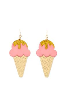 A pair of drop earrings featuring ice cream designs with high-polish and glitter accents, and fish-hook backs.