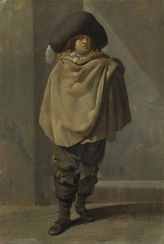 """""""A Standing Man"""" by Pieter Quast (1630-1635) at the National Gallery, London - From the curators' comments: """"Although this painting depicts a single standing man, his generalised features suggest that this was not meant as a portrait. Instead, as is suggested by the man's costume, it is an image of an anonymous standing soldier. In the 17th century soldiers did not yet wear uniforms."""""""