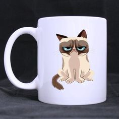 Cute Grumpy cat Ceramic White Mug Cup Awesome Office or Great Gift * Wow! I love this. Check it out now! : Cat mug