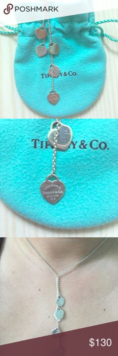 TIFFANY MINI HEART TAGS DROP NECKLACE Practically new. Minor wear scratching on hearts. I brought to Tiffany to get it polished recently. Will take reasonable offers. Tiffany & Co. Jewelry Necklaces