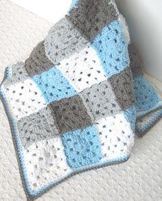 Crochet Blue Baby Blanket - Gray Blue Crochet Granny Square Afghan / Blanket - Crochet Patchwork - Blue Gingham Crochet Baby Boy Blanket