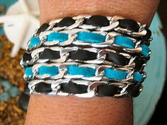"""Boho Chic Black and Turquoise Leather Stacking Chunky Silver Chain Bracelet....""""FREE SHIPPING""""   by LeatherDiva, $29.00"""