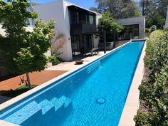 Above ground lap pool, height and wide with steps for easy entry. Above ground lap Swiming Pool, Small Swimming Pools, Swimming Pool Designs, Lap Swimming, Lap Pools, Indoor Pools, Backyard Pool Landscaping, Small Backyard Pools, Langer Pool