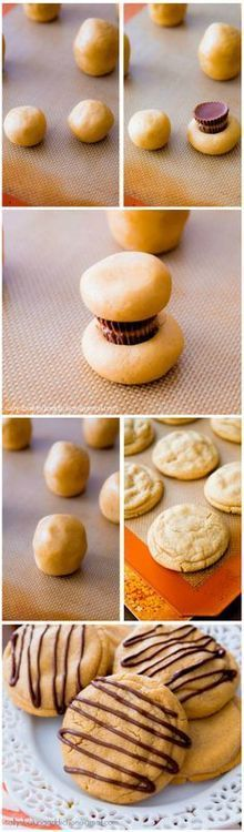 "Maybe not peanut butter. Maybe rolos, m&m's or tiny butterfingers. ""Reese's Stuffed Peanut Butter Cookies"""