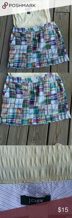 Plaid skirt by J.Crew Plaid cotton skirt nice to wear in the summer or spring. J. Crew Skirts Mini