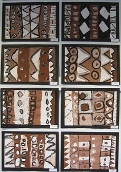 1st-2nd grade- african mudcloth. Symbols and symbol handouts, pattern and pattern made of patterns, paint white, then brown, then black. tint and shade.