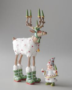 """""""Blitzen"""" Reindeer Figure and Elf Ornament by Patience Brewster at Horchow. Whimsical Christmas, Christmas Love, All Things Christmas, Winter Christmas, Christmas Crafts, Christmas Decorations, Christmas Ornaments, Christmas Ideas, Reindeer Decorations"""