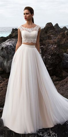 Graceful Tulle Scoop Neckline Zweiteiler A-Linie Brautkleid mit Spitzen. - Graceful Tulle Scoop Neckline Zweiteiler A-Linie Brautkleid mit Spitzenapplikationen La mej - Bobo Wedding Dress, Two Piece Wedding Dress, Lace Beach Wedding Dress, Modest Wedding Dresses, Perfect Wedding Dress, Lace Dresses, Designer Wedding Dresses, Bridal Dresses, Wedding Gowns