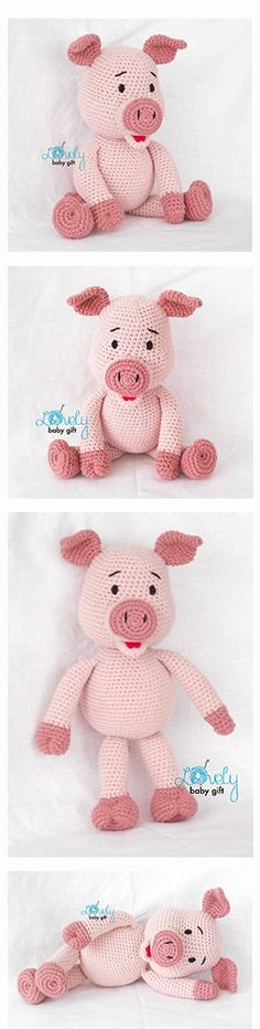 Pig, piglet crochet pattern, häkelanleitung, haakpatroon, hæklet mønster, modèle…