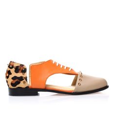 Niomi Smart Brown & Orange Flat Oxfords Shoes
