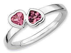 Stackable Expressions Sterling Silver Pink Tourmaline Double Heart Stackable Ring