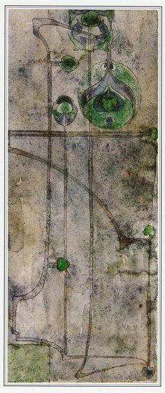 STYLISED PLANT FORM CHARLES RENNIE MACKINTOSH. A wonderful READY MOUNTEDprint from a Charles Rennie Mackintosh 1894 pencil & watercolour design.   eBay!