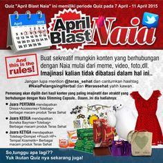 Haii sahabat Teras.. Happy weekend yahh.. Quiz April Blast Naia on twitter akan berakhir hari ini pukul 12.00 WIB.. Yuk ikutan!