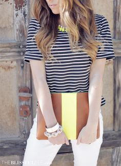 We love the stripes and neon look from The Blissful Bee, a lifestyle blogger based out of Fort Worth.