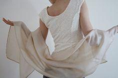 Ivory bridal wrap Ivory bridal shawl Sheer orchid Silk scarf Ahimsa silk scarf Bridesmaid's gift nude wedding wrap ready to ship FAIRY FLOSS...