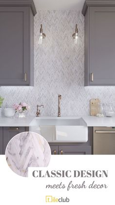 Create the perfect modern farmhouse kitchen with Skinny Chevron Calacatta Gold Mosaic Tile! This stunning marble backsplash pairs perfectly with neutral decor or a pop of color! Interior Design Kitchen, Kitchen Tiles Backsplash, Kitchen Design Open, Grey Kitchen Colors, Kitchen Colors, Creative Kitchen Backsplash, Kitchen Backsplash Designs, Farmhouse Kitchen Backsplash, Kitchen Diy Makeover