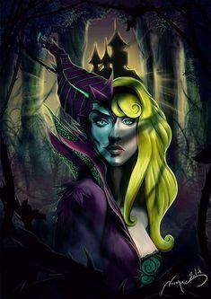 Maleficent and Aurora by Noumenie on deviantArt Dark Disney, Disney And More, Disney Magic, Disney Fan Art, Disney Girls, Disney Love, Disney Stuff, Sleeping Beauty Maleficent, Disney Sleeping Beauty