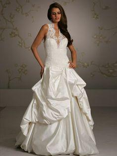 Pick-Up Satin Wedding Dress of Laced Bodice