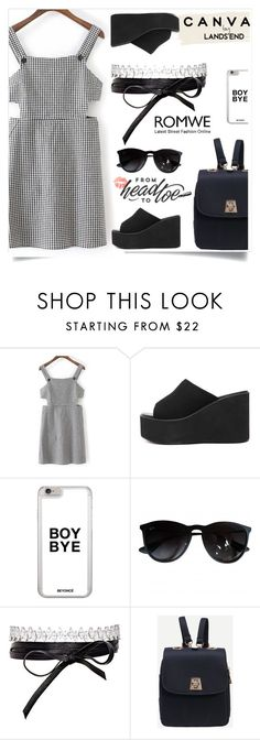 """""""Romwe 3"""" by amra-f ❤ liked on Polyvore featuring Lands' End, Ray-Ban, Fallon and romwe"""
