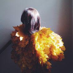 Leaf Cape - Real yellow maple leaf cape. By Kirsten Rickert kirstenrickert.com