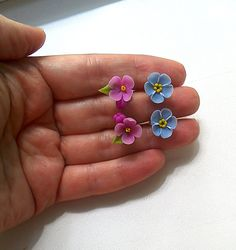 Lilac & forget-me-not stud earrings set-Clay by BloomingShop