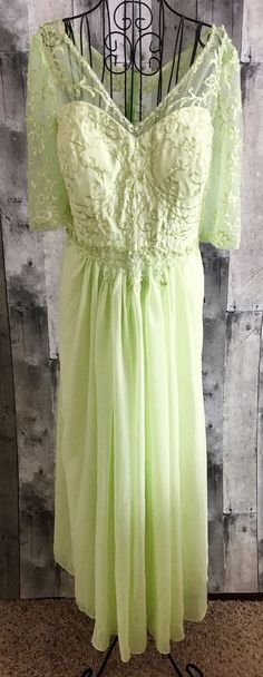 Izilady Sequin Beaded Embroidered Gown Dress Bra Pastel Green Size XXL NWT #Izilady