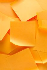 Stack of orange note papers stock photo