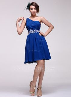 A-Line/Princess One-Shoulder Knee-Length Chiffon Homecoming Dress With Embroidered Ruffle Beading (022016082) - JJsHouse