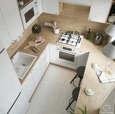 Kitchen Room Design, Home Decor Kitchen, Kitchen Living, Interior Design Kitchen, Home Kitchens, Wooden Dolls House Furniture, Room Deco, Small Apartment Kitchen, Küchen Design