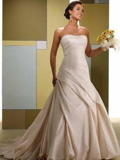 Strapless A-line  taffeta bridal gown - Click image to find more Weddings Pinterest pins