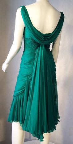 Rare Jean Desses Chiffon Cocktail Dress, 1950s
