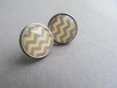 Yellow+and+Gray+Chevron+Stud+Earrings+by+IrisJane+on+Etsy,+$5.75