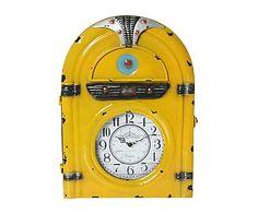 Reloj de pared en metal Radio - amarillo
