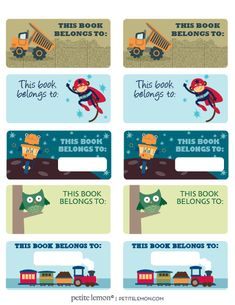 Adorable book plates for back to school. Never lose a book again. Several free printables to choose from. Just print on Avery Labels peel and stick. Free Printable Art, Printable Labels, Free Printables, Notebook Labels, Kids Labels, School Labels, Summer Camps For Kids, Label Templates, Book Lovers Gifts