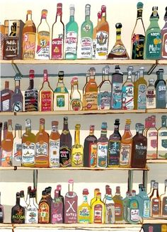 100 Bottles of Booze on the Wall. 100 Bottles of Booze...art illustration wall bar decor